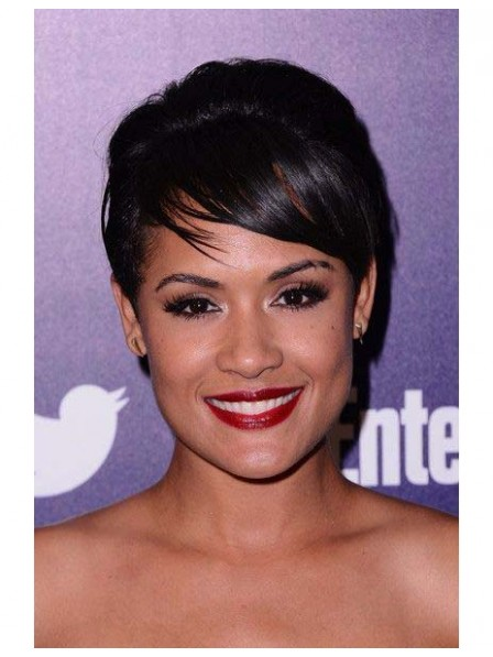 Black pixie short hair wigs capless with Oblique Bangs
