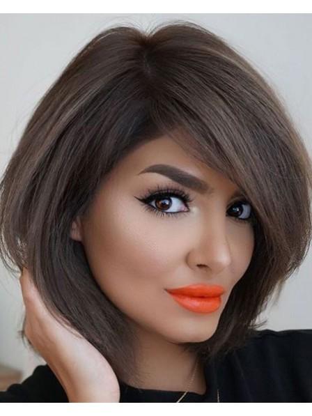 Black Women Brown Chin Length Bob Style Wigs