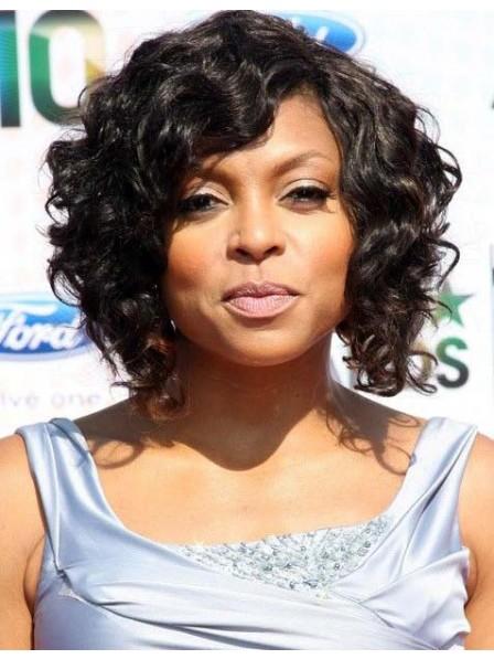 Black women capless wavy synthetic hair wigs