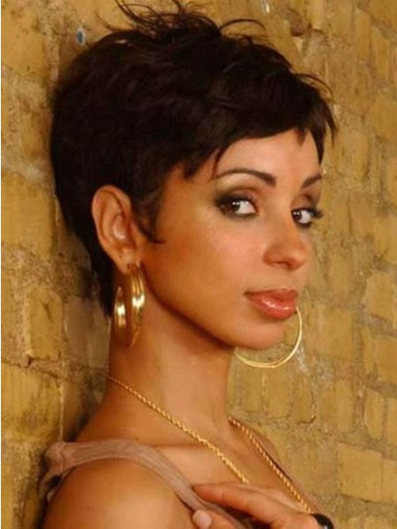 Black Women Pixie Spiked Cut Capless Wig