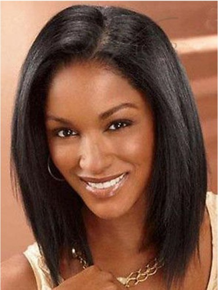 Black Women S Straight Soft 100 Human Hair Lace Front Wigs