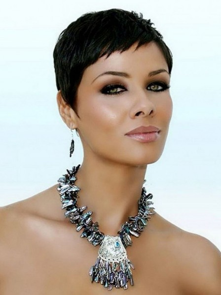 Black Women Short Pixie Cut Synthetic Hair Capless Wig