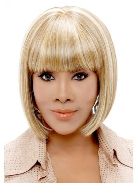 Blonde Angled Bob Style Wig With Bump Bang