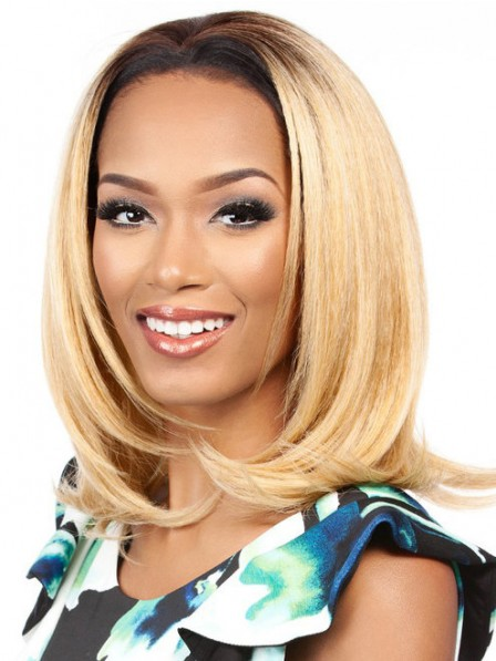 Blonde bob Straight synthetic hair wigs with filp ends