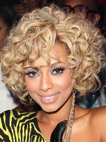 Blonde Curly Synthetic Lace front mono top hair wigs
