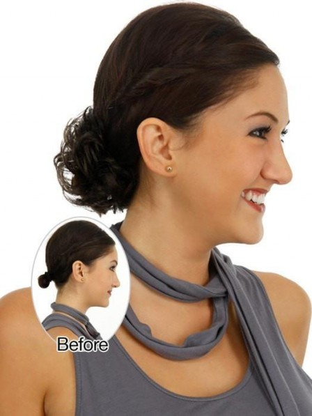 Brown Curly Ponytail Wrap