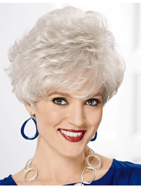67aeae14295dc7 Capless Synthetic White Hair Wig For Older Ladies - Rewigs.co.uk