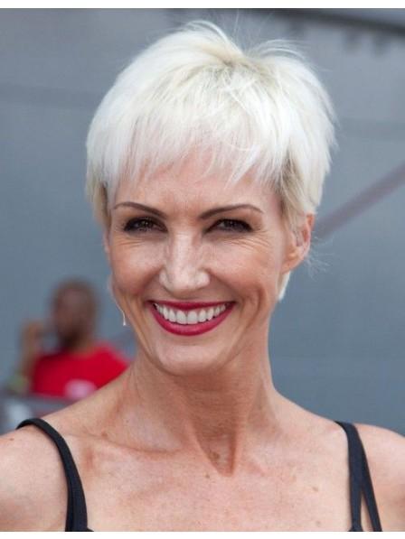 2820776649de71 Celebrity Short Pixie Cut White Hair Wig For Women Over 50 - Rewigs.co.uk