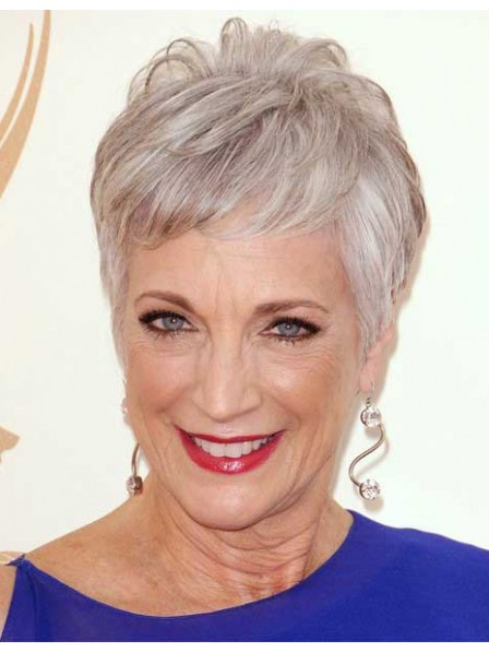 Celebrity Style Short Pixie Cut Grey Hair Wig With Bangs