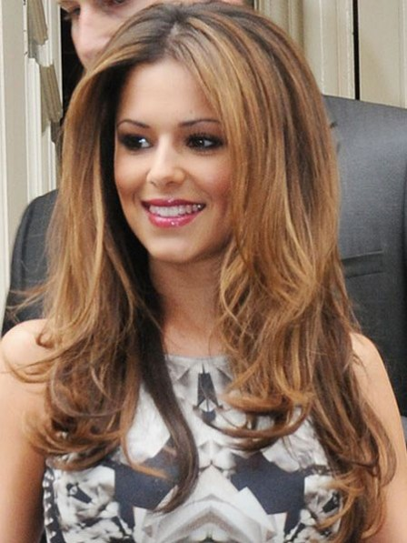 Cheryl Cole Long Brown Wavy Synthetic Celebrity Wigs