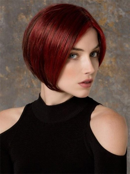 Chin-length Angled Bob Lace Front Red Wig