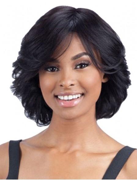 Chin-Length Shag Curly Human Hair Wig