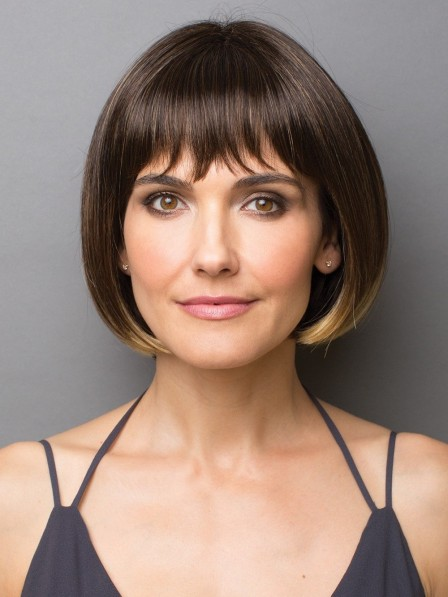 Classic Chin Length Bob Style Wig with Full Bang