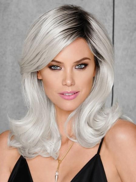 Classic Mid-length Grey Hair Wig