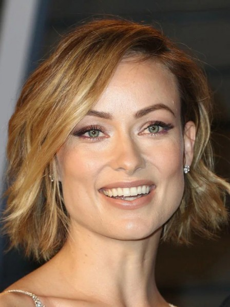 Classic Olivia Wilde Natural Look Style Synthetic Celebrity Wigs for Ladies