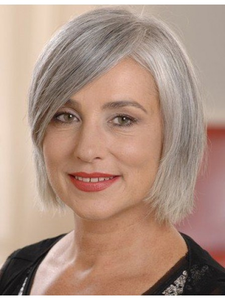 251c3f9564a9d1 Classic Short Length Ladies Grey Wig With Side Bangs - Rewigs.co.uk