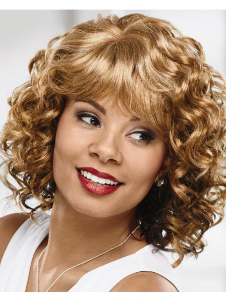 Collar-Length Curly Wig With A Comfortable Stretch-To-Fit Cap
