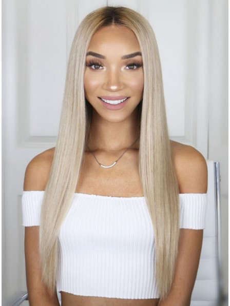 Cream Color Straight Human Hair Lace Wigs