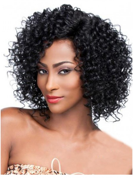 Curly capless synthetic hair wigs for black women