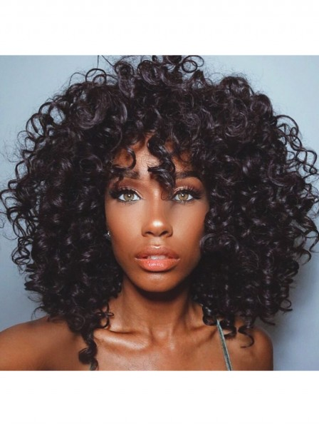 Curly Hair Synthetic Capless Wig For Blakc Women