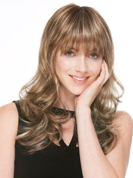 Cute Lace Front Monofilament Long Wavy Wig With Full Bangs