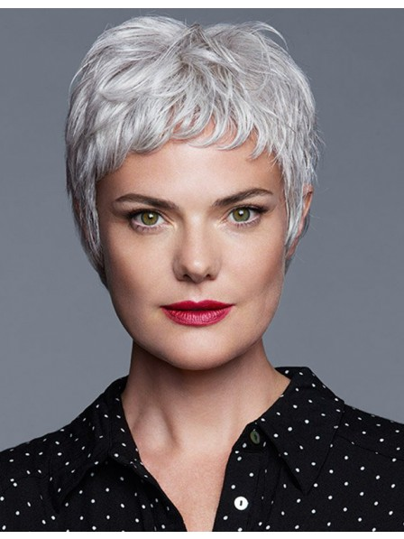 c962b93dd08003 Cute Pixie Cut Older Women Grey Hair Wig With Bangs - Rewigs.co.uk