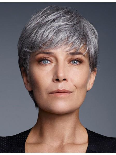 efa124718dfc34 Cute Short Pixie Cut Older Women Grey Hair Wig With Bangs - Rewigs.co.uk