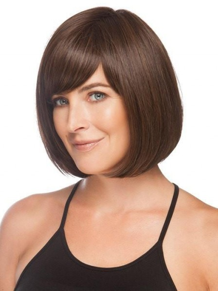 Dark Brown Chin Length Blunt Cut Bob Wig