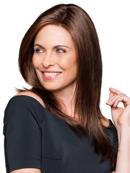 Dark Brown Long Sleek Layered Straight Womon Wig