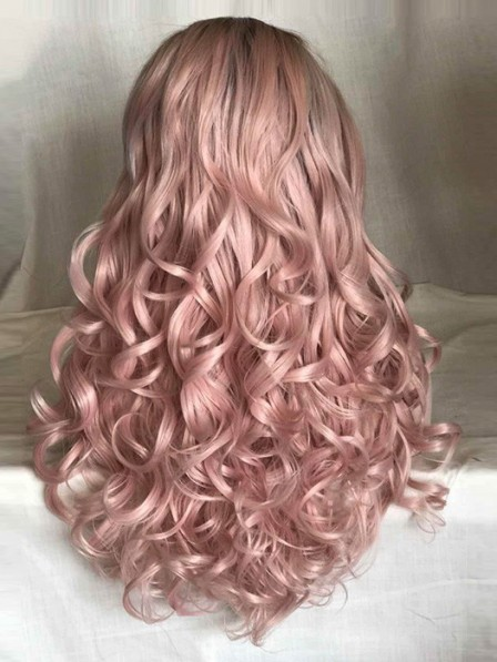 Dusty Rose Lace Front Pink Wig