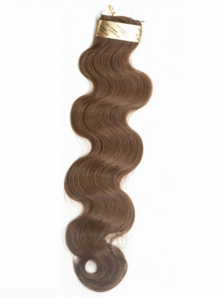 "18"" Wavy Brown 100% Human Hair Weft Hair Extensions"