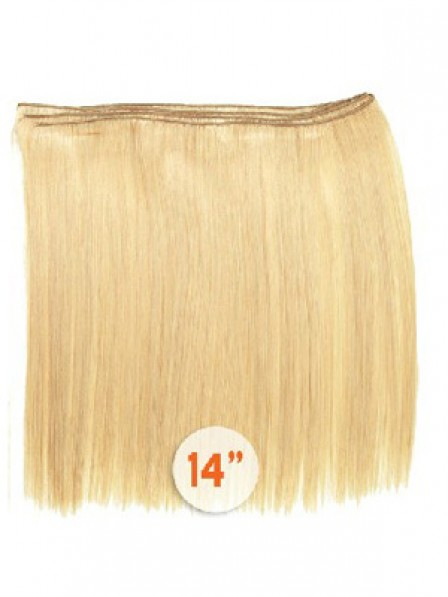 """14"""" Straight Blonde 100% Human Hair Weft Hair Extensions"""