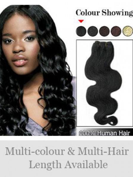 "18"" Wavy Black 100% Human Hair Weft Hair Extensions"