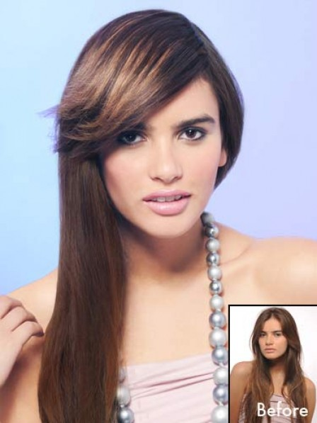 """8.5"""" Straight Brown Heat Friendly Synthetic Hair Capless Bangs"""