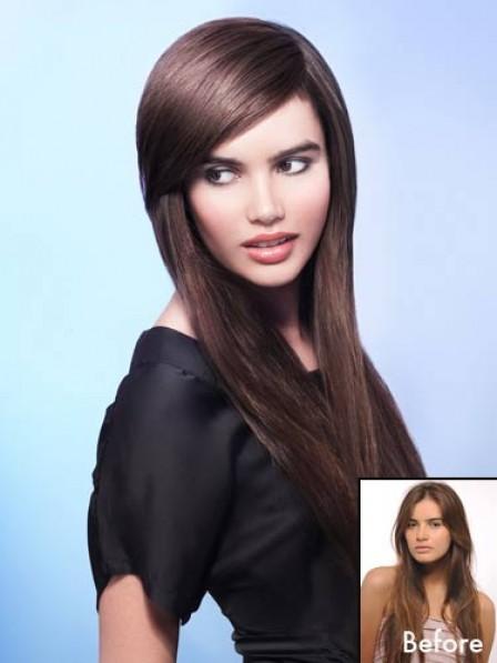 """7.5"""" Straight Brown 100% Human Hair Capless Bangs"""