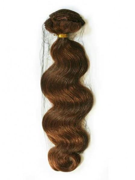 "16"" Wavy Auburn 100% Human Hair Weft Hair Extensions"