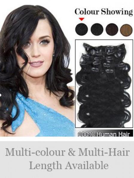 "14"" Wavy Black 100% Human Hair Hair Extensions"