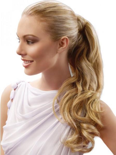 "22"" Wavy Blonde 100% Human Hair Pressure Clips Ponytails"