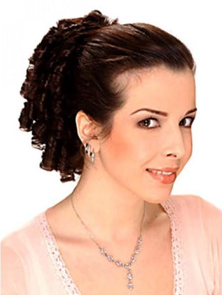 "12"" Curly Auburn 100% Human Hair Claw Clip Ponytails"