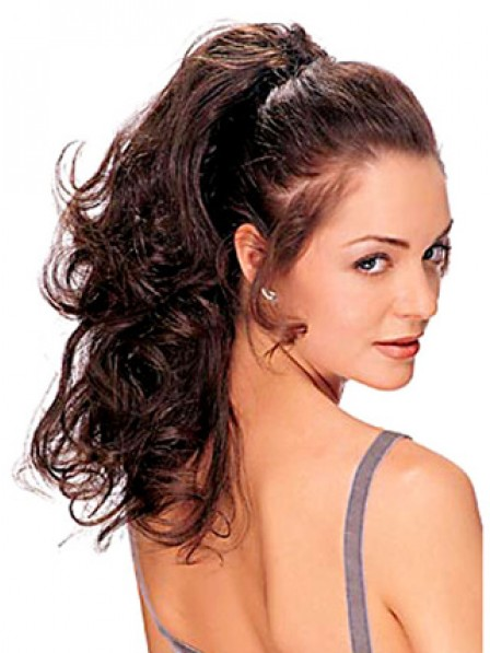"""16"""" Wavy Brown 100% Human Hair Claw Clip Ponytails"""