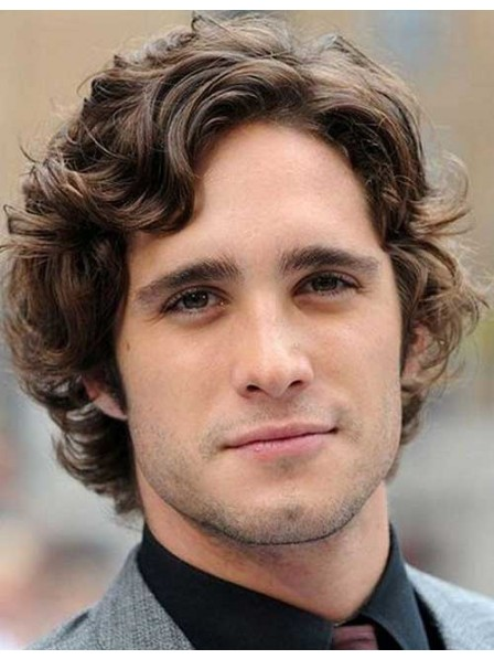 Elegant British Curly Human Hair For Men Lace Front Mono Top Wig