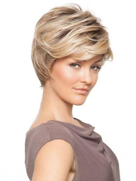 Elegant Feathered Short Straight Women Wig