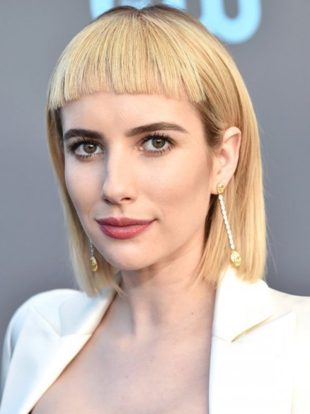 Emma Roberts Blonde Bob Style Human Hair Wigs With Bangs Full Lace