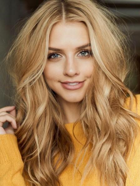 e06ab2d010e Fashion Long Blonde Wavy Human Hair Wig Full Lace - Rewigs.co.uk