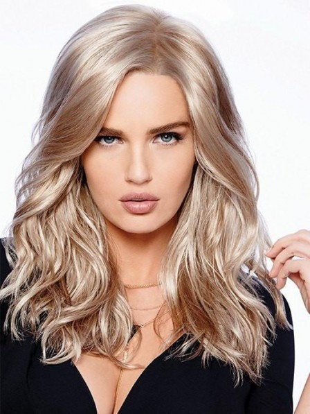 Fashion Long Look Wavy Lace Front Blonde Wig