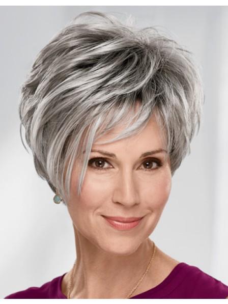89cccd9d615133 Fashion Older Ladies Short Grey Hair Wig - Rewigs.co.uk