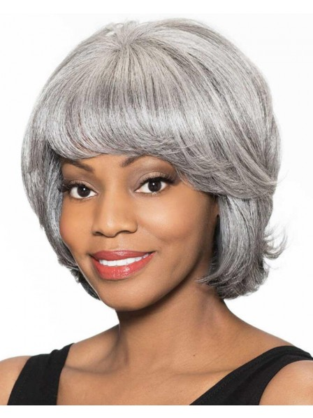 Feathery Bob Wig With Collar-Length Layers In Heat-Stylable Fiber