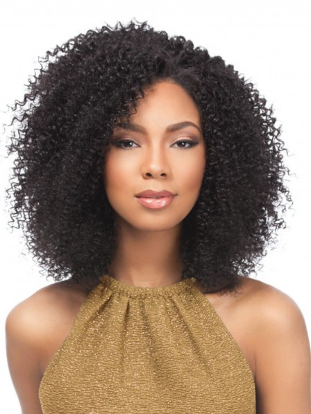 Fluffy fashion medium curly capless synthetic hair wigs