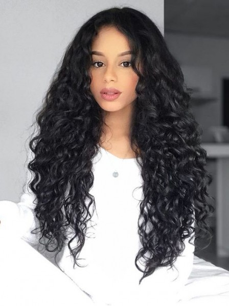 Fluffy long curly black afro hairstyle synthetic wig for