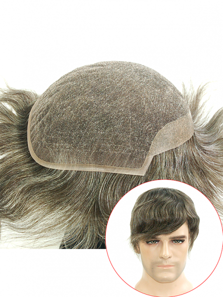 French Lace with PU on Back and Sides Mens Hair Systems